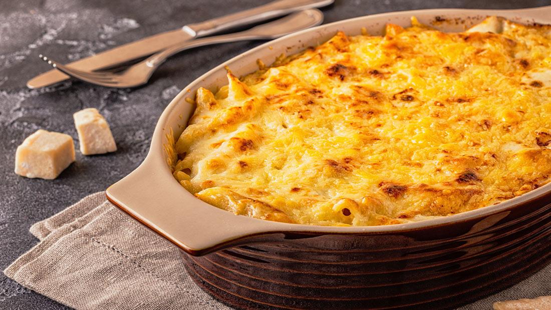 Recept ovenschotel met kaas, savooi champignons